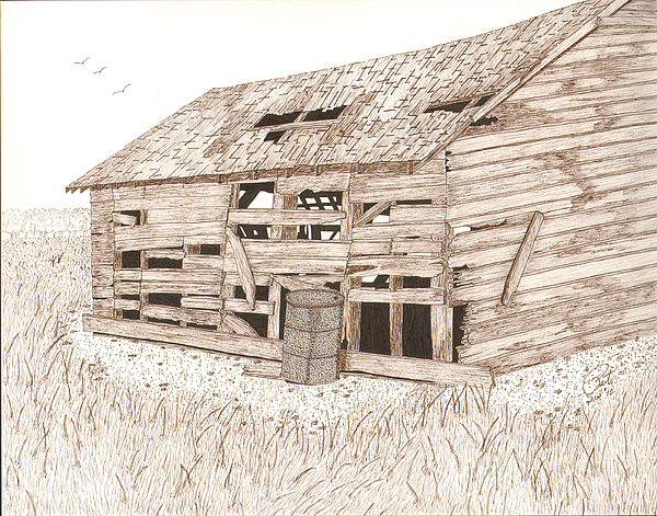 Pen And Ink Drawing - Lees Barn by Pat Price