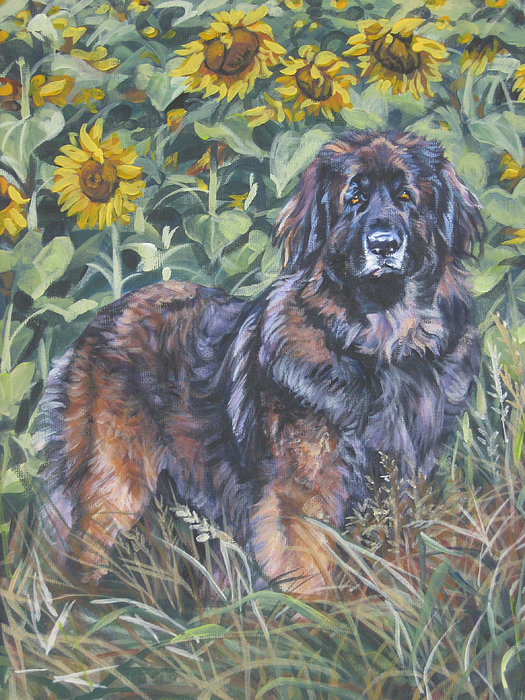Leonberger Painting - Leonberger In Sunflowers by Lee Ann Shepard