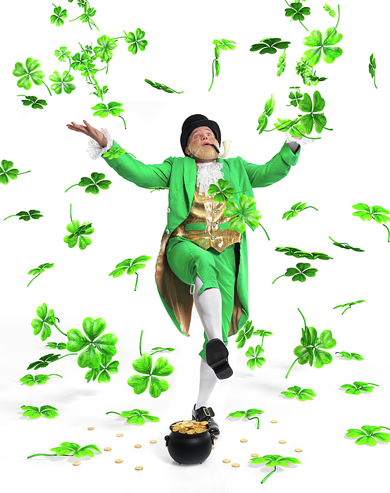 Leprechaun Photograph - Leprechaun Tossing Shamrock Leaves Up In The Air by Oleksiy Maksymenko