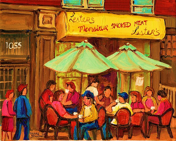 Lesters Monsieur Smoked Meat Cafe Painting - Lesters Monsieur Smoked Meat by Carole Spandau