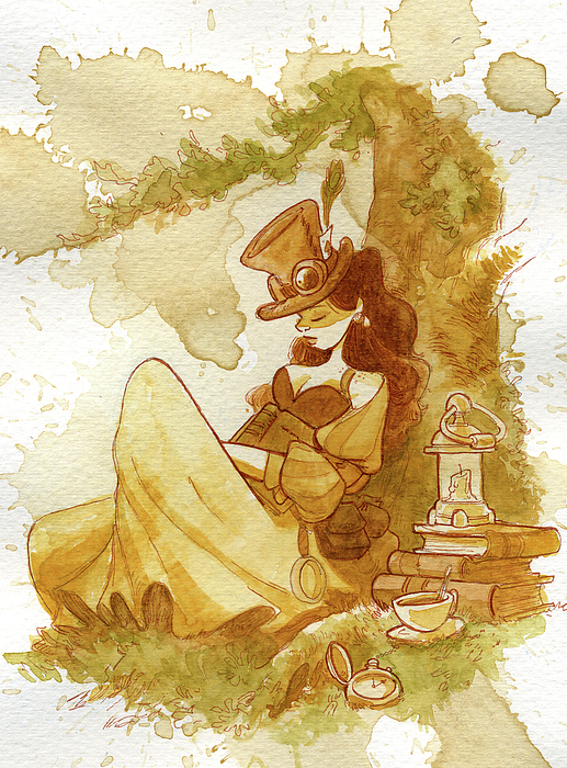 Steampunk Painting - Librarian by Brian Kesinger
