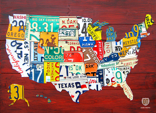 License Plate Map Mixed Media - License Plate Map Of The United States - Midsize by Design Turnpike