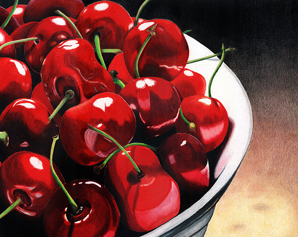 Cherries Painting - Life Is.... by Angela Armano