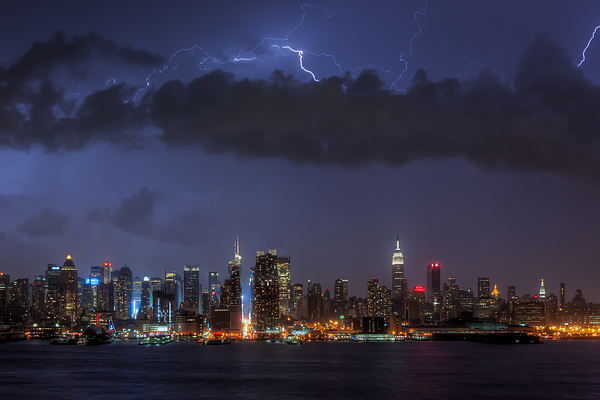 Clarence Holmes Photograph - Lightning Over New York City I by Clarence Holmes