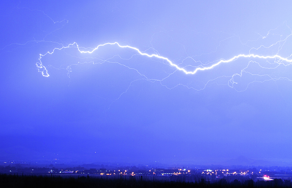 Lightning Over North Boulder Colorado - Cropped Photograph