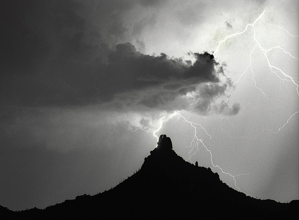 Pinnacle Peak Photograph - Lightning Striking Pinnacle Peak Arizona by James BO  Insogna