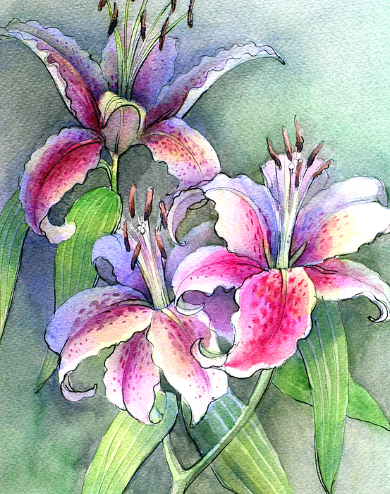 Nature Painting - Lilies by Khromykh Natalia