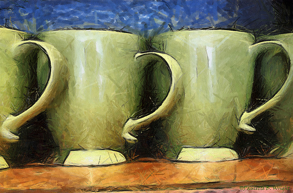 Lime Painting - Lime Green Cups by Paulette B Wright