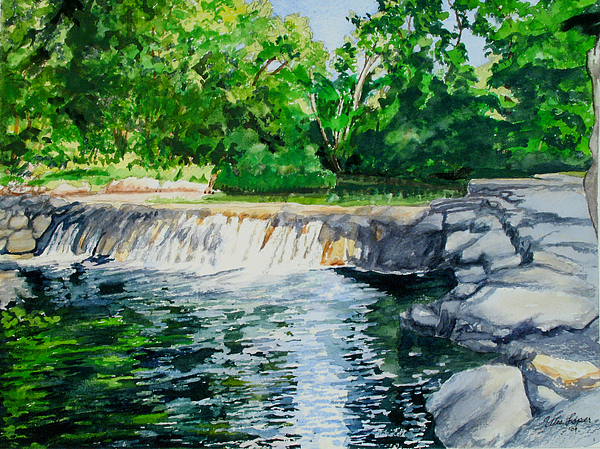 Landscape Painting Painting - Little Niagra Falls On Travertine Creek Chickasaw National Recreation Area Sulphur Oklahoma by Wes Loper