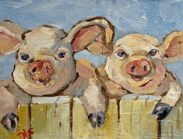 Pig Painting - Little Pigs by Delilah  Smith
