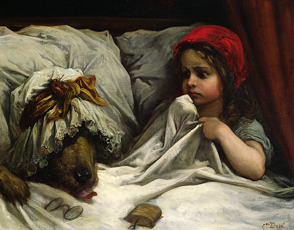 Wolf; Disguise; Child; Girl; Fairy Tale; Story; Glasses; Bed; Nightcap; Fear Painting - Little Red Riding Hood by Gustave Dore