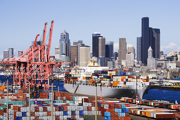 Loaded Container Ship In Seattle Harbor Print by Jeremy Woodhouse