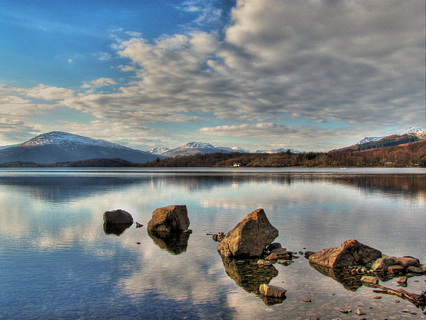 Loch Lomond Scotland Wallart Poster Canvas Prints Fine Art Giclée Fine Art Giclée Photographic Print Box Print Box Framed Print Mdf Mounted Print Canvas Print Canvas Print Triptych Photo Block Wall Art Artwork Photographic Pics Buy Background Bay Beautiful Beauty Blue Britain British Clouds Countryside Highlands Hiking Hill Hills Image Island Lake Landscape Loch Log Lomond Long Mirror Mountain Mountains Nature Outdoor Peaceful Peak Reflection Rock S Photograph - Loch Lomond by Fiona Messenger