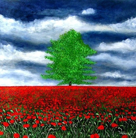 Sky Painting - Lonely Tree Amongst Zillions Of Poppies by Marie-Line Vasseur