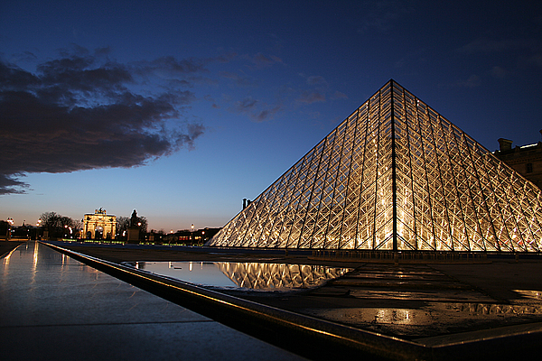 Paris Photograph - Louvre Puddle Reflection by Joshua Francia