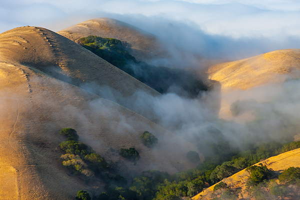 California Photograph - Low Clouds Between Hills by Marc Crumpler