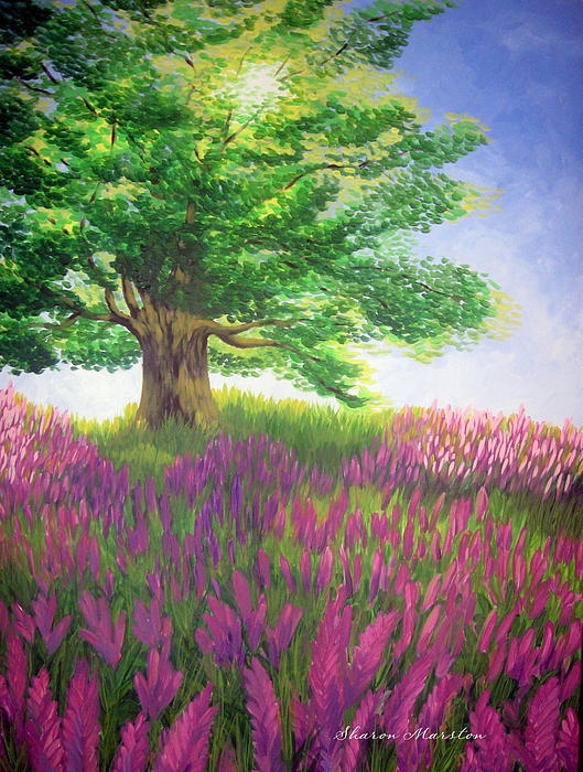 Tree Painting - Lupine Afternoon by Sharon Marcella Marston