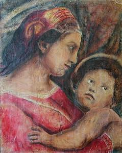 Madonna (in Profile) And Child Based On Work On By Raphael Painting - Madonna And Child   In Profile    Based On Work On By Raphael by Judy Loper