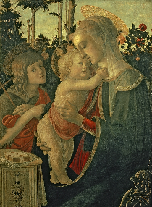 Young; Boy; Garden; Prayer Book; Rose; Renaissance Painting - Madonna And Child With St. John The Baptist by Sandro Botticelli