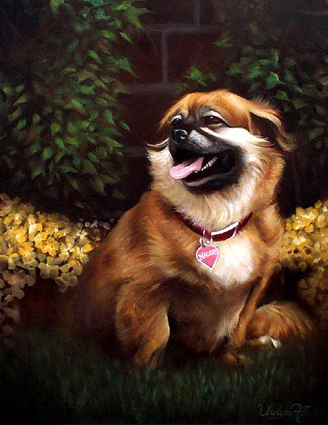 Small Brown And White Female Dog Painting - Maggie by Ulysses Albert III