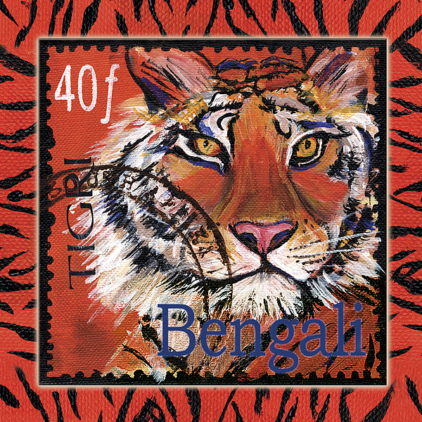 Tiger Painting - Mail Tail by Debbie McCulley