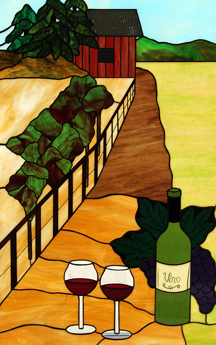 Maine Glass Art - Maine Vineyard by Jane Croteau