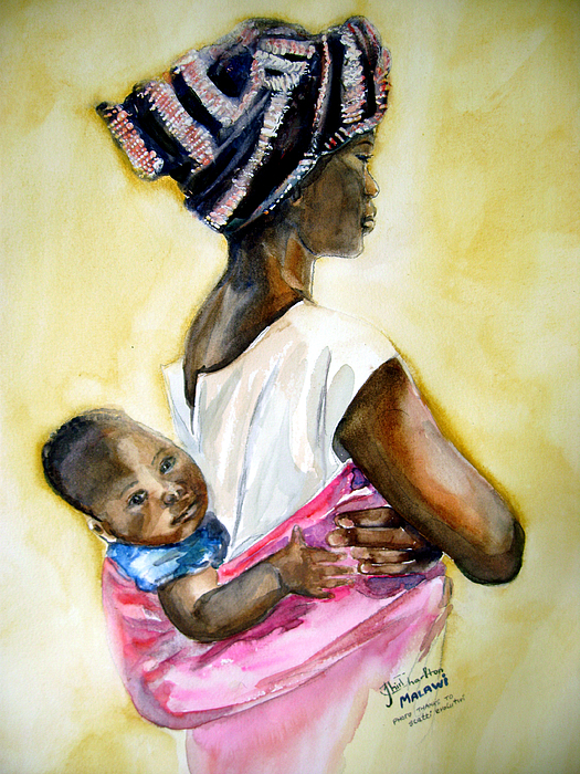 Watercolor Painting - Malawian Mother by Shirley Roma Charlton