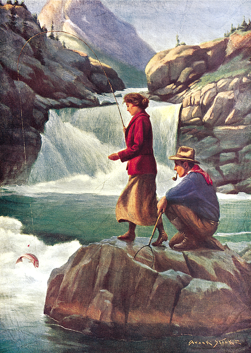 Phillip Goodwin Painting - Man And Woman Fishing by JQ Licensing