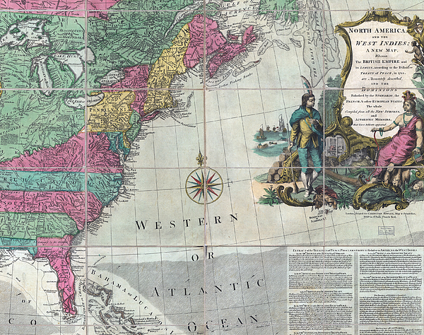 18th Century Photograph - Map Showing The 13 British Colonies by Everett