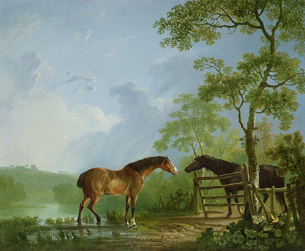 Mare Painting - Mare And Stallion In A Landscape by Sawrey Gilpin