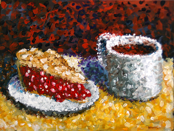 Mark Webster Painting - Mark Webster - Impressionist Cherry Pie With Coffee Acrylic Still Life Painting by Mark Webster