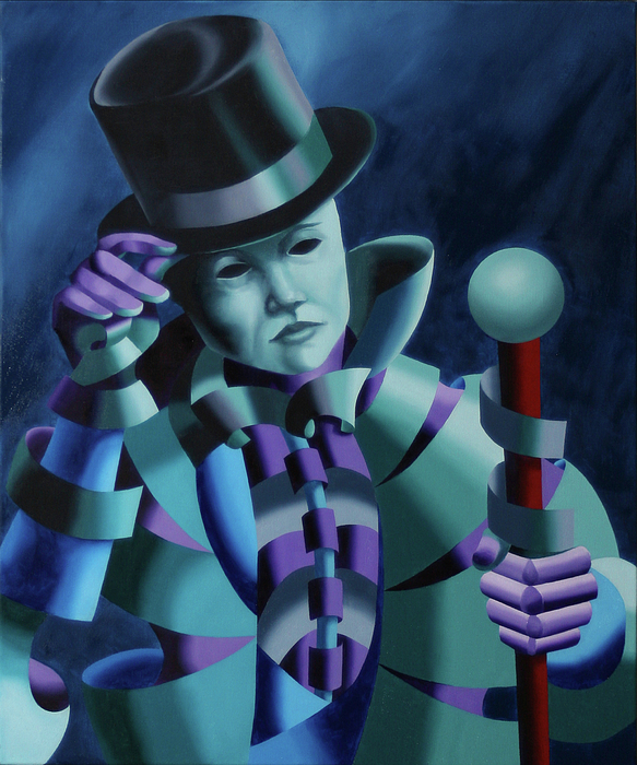 Abstract Painting - Mask Of The Magician - Abstract Oil Painting by Mark Webster