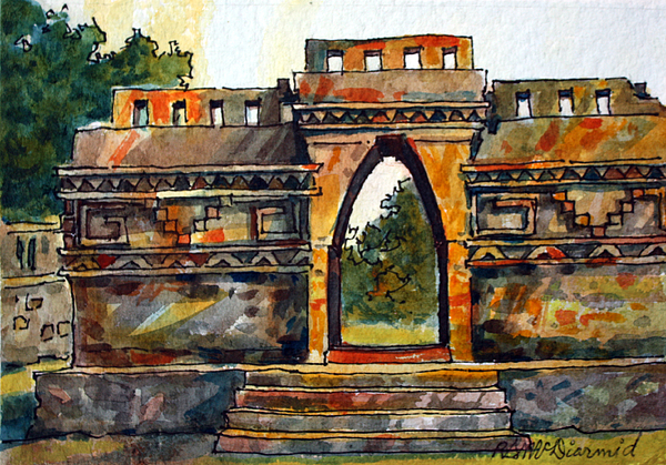 Arhchitectural Theme Painting - Mayan Ruins by Richard McDiarmid