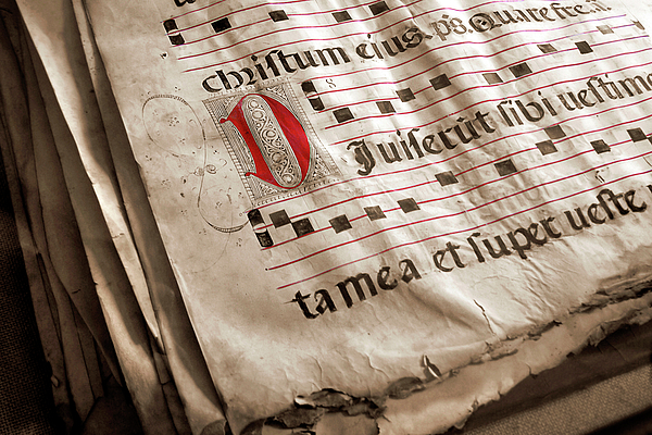 Aged Photograph - Medieval Choir Book by Carlos Caetano
