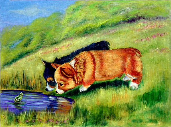 Pembroke Welsh Corgi Painting - Meeting Mr. Frog Corgi Pups by Lyn Cook