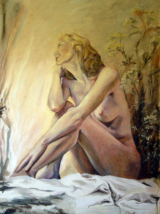 Nude Nudes Figurative Oil Painting Woman In Pink Light Deep Thought Wild Flowers  Painting - Memory by Rebecca Torrington