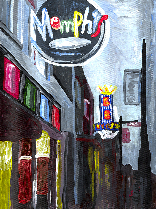 Cityscape Building Memphis Tennessee Beale Street Night Painting - Memphis by Helena M Langley