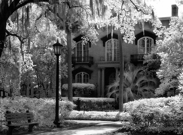 Black & White Infrared Photography Photograph - Mercer Williams House by Jeff Holbrook
