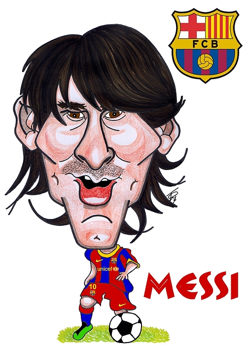 Caricature Of Barcelona' Messi   Drawing - Messi by Tom Glover