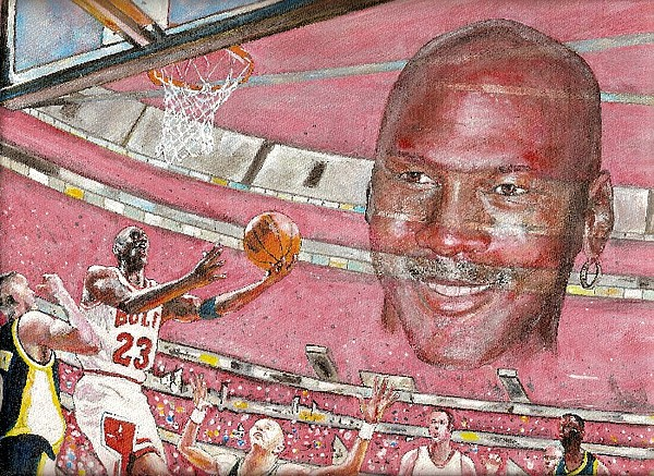 Michael Jordan Chicago Bulls Basketball Painting - Miechael by David Hipwell