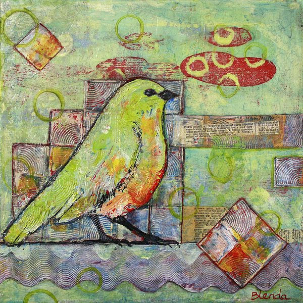 Mint Green Bird Art Painting