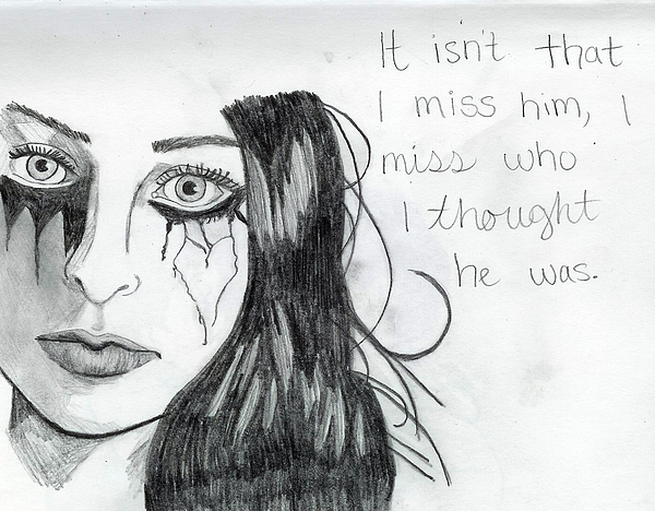 Crying Drawing - Miss Who He Was by Rebecca Wood