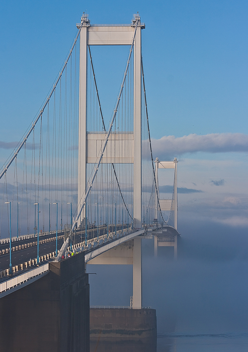 Bridges Photograph - Mist Over The Severn by Brian Roscorla