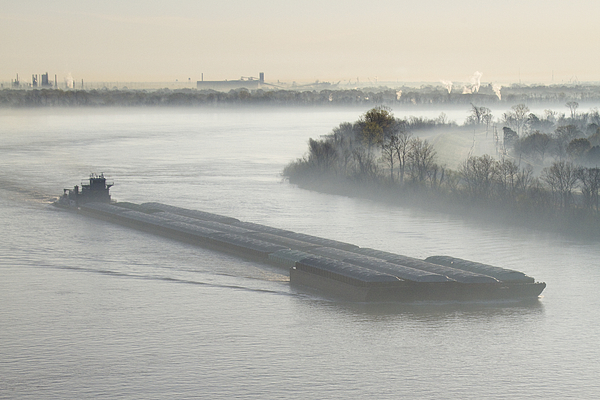 Barge Photograph - Mist Shrouded River And Tugboat by Jeremy Woodhouse