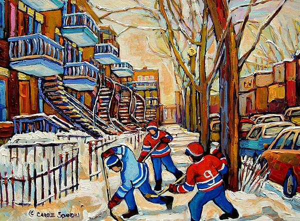 Montreal Hockey Game With 3 Boys Painting - Montreal Hockey Game With 3 Boys by Carole Spandau