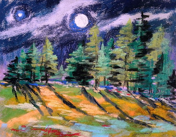 Moon Painting - Moon With Venus by John Williams