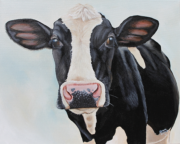 Cow Painting - Moowho by Laura Carey