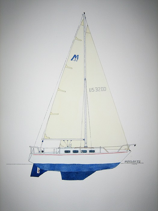 Sail Sailboat Ocean Sea Morgan Boat Nautical Yacht Painting - Morgan 32 by Jeff Lucas