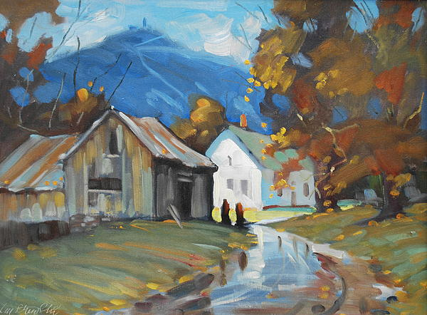 Berkshire Hills Paintings Painting - Morning Chat by Len Stomski