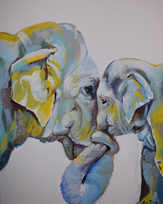Motherly Elephant Painting by Anne Seay